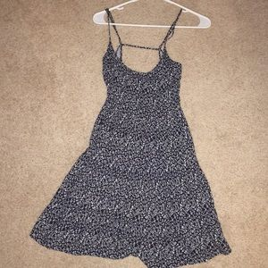 Navy blue floral dress with open back
